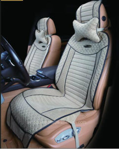 Leatherette Car Seat Cover Flat Shape Cushion with Strips Embroidery