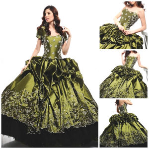 2012 Magnificent Beautiful Sweetheart A-Line Sheath Jacket Ruffle Beaded Appliqued Taffeta Quinceanera Dress (QD-049)