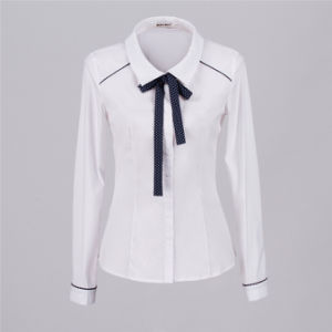 2017 Latest Style Whole Las Shirt Office Uniform Cotton White For Women Blouse With