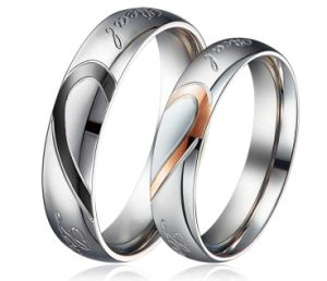 8a28b94f7a Heart Shape Matching Titanium Promise Ring for Couple 316L Stainless Steel  Wedding Bands Rings