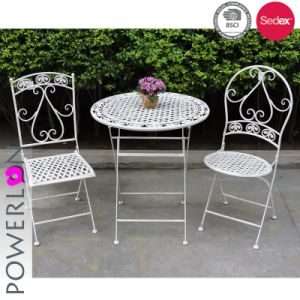 Peachy Handmade Wirght Iron Antique White Folding Patio Set Ncnpc Chair Design For Home Ncnpcorg
