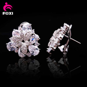 Top Design Flower White Stone Gold Plated Stud Earrings