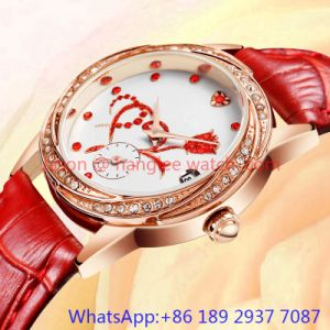 Top-Quality Alloy Luxury Watch, Genuine Leather Band (HLJA-15061)