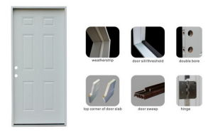 Classic 6 Panel American Prehung Wood Frame Exterior Steel Door pictures & photos
