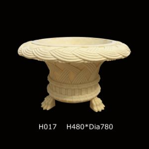 Sandstone Pedestal Garden Sculpture Decorations Flower Pot pictures & photos