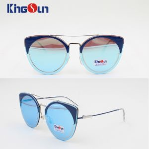 Lady Sunglasses Flat Lens Metal Circle Curved Exquisite High Level pictures & photos