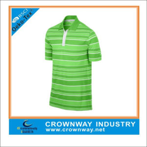 Men′s Green Stripe Golf Polo Shirt with Dri Fit Function pictures & photos