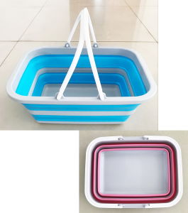 Silicone Space Saving Storage Container Collapsible Plastic Shopping Ice  Basket