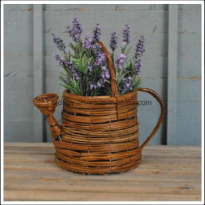 Wicker Watering Can Shaped Garden Planter