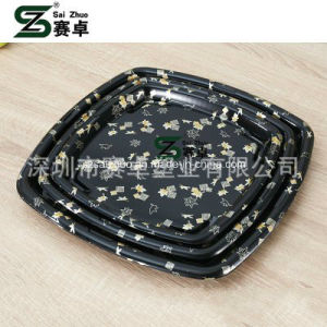 Square Floral Printed Top Grade Disposable Plastic Sushi Tray (S6123) pictures & photos
