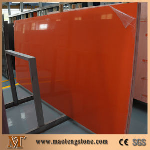 Dark Orange Quartz Color China Customized Quartz Slab