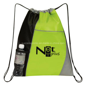 210d Polyester Backpack Drawstring Bag with Bottle Holder pictures & photos