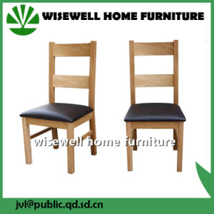 Solid Oak Ladder Back Leather Dining Chair
