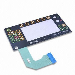 Custom-Made 22-Key Membrane Switches with Bright Printing on Black Background and Rectangle Window
