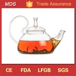 Beautiful Hand-Blown Borosilicate Glass Tea Pot with Handle pictures & photos