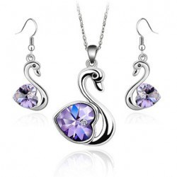 Crystal Purple Swan Gold or Platinum Alloy Necklace Earring Sets