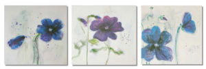 Giclee Printed Painting Stretched Canvas - Modern Flower Set of 3 Panels