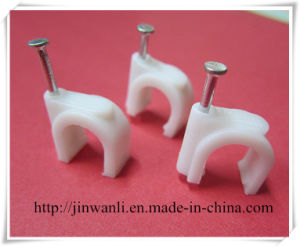 PE White 7mm Wall Circle Nail Cable Clip pictures & photos