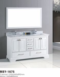 60 Inch White Wood Bathroom Vanity with Marble Top