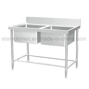 C01-B12 Stainless Steel Double Sink Commercial Kitchen Sink