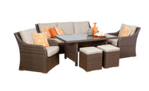 China 3 Seater Rattan Wicker Dining Furniture Sofa Set with Footrest ...