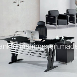 Black Glass Top Office Table