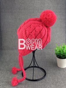 4542c4d034154 China Custom POM POM Kid Knit Beanie Winter Hat with Ear Flap ...
