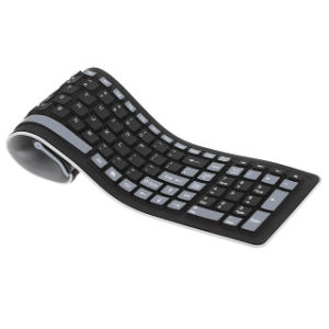 Portable 2.4G Wireless Keyboard Flexible Water Resistant Soft Silicone Mini Keyboard with USB Receiver for Tablet Computer