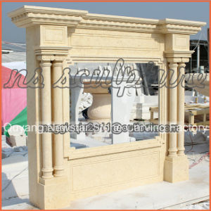 Column Style Beige Marble Fireplace Mantel / Fireplace Surroundmf1711 pictures & photos