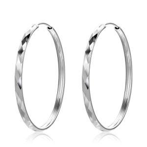 Simple Round Circle Rhombus 925 Sterling Silver Hoop Earrings