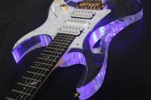 Hanhai Music/Acrylic Glass Electric Guitar with LED Light pictures & photos