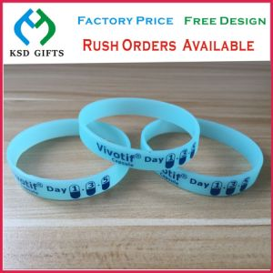 Embossed Logo Custom Silicone Plastic Wrist Bands for Advertising (KSD-843) pictures & photos