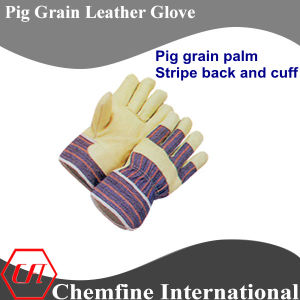 Stripe Back and Cuff, Full Palm, Pig Grain Palm Leather Work Gloves pictures & photos