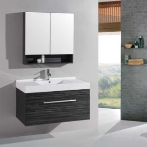 China Black Wood Grain Bathroom Vanity Plywood Bathroom
