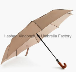 High Quality Fashion Automatic Folding Umbrellas with Wooden Crook Handle (FU-3821BFW) pictures & photos