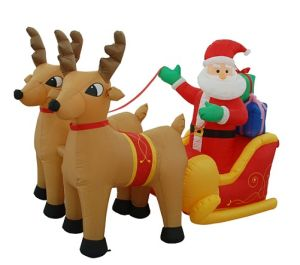 Inflatable Santa With Reindeer Sleigh Air N Pop Up Christmas Inflables