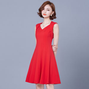 Custom Trendy Ladies Red Korean Career Dresses pictures & photos