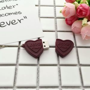 Factory Wholesale Heart Shape USB Flash Disk, Chocolate USB Flash Pen Drive Memory Stick