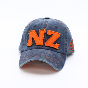 Hot Sale Design Stone Washed Navy Applique Baseball Cap with Velcro Closure