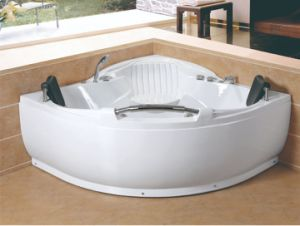 China Corner 2 Person Waterfall Built In Seat Whirlpool Jacuzzi
