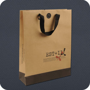 626d49809f5c China Luxury Kraft Paper Packaging Bag with Ribbon Handle - China ...