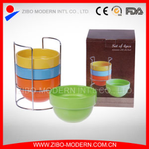 Wholesale Color Glaze Ceramic Stackable Bowl with Metal Rack pictures & photos