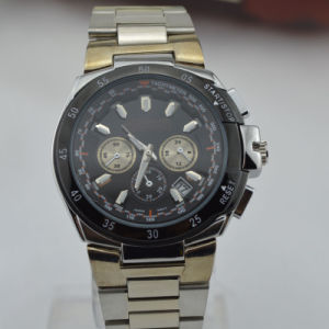 Alloy Anolog Quartz Man Watch with Date Window, Stainless Steel Band