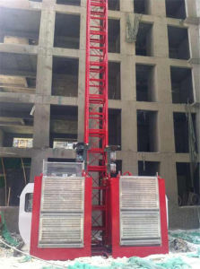 2t Capacity Double Cage Builders Lift Made by Hsjj pictures & photos