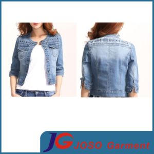 Haft Sleeve Classic Shoulder Embroidery Distreesed Denimn Jacket Clothing (JC4068) pictures & photos