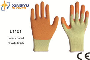 Polyester Shell Latex Coated Safety Work Glove (L1101) pictures & photos