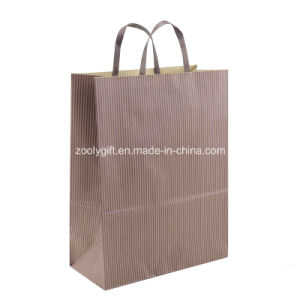 Eco-Friendly Natural Brown Kraft Paper Gift Packing Bags Flat Handles pictures & photos