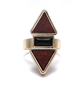 Popular Simple Burst Brown Wood Ring Jewelry