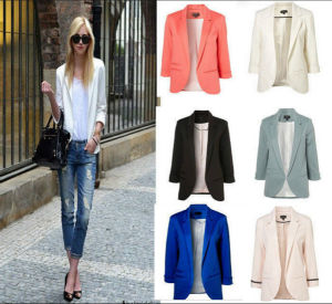 Hot! ! New Fashion 6 Colors Women Candy Color Seventh Volume Sleeve Jacket Blazer pictures & photos