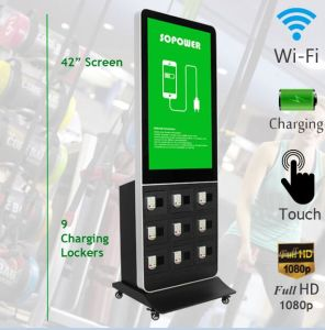 "42"" Touch LCD Screen Mobile Phone Charging Station Kiosk with Digital Signage Player"